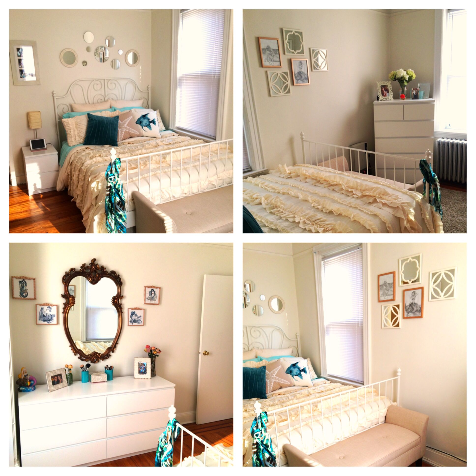 Cream, gold and turquoise color scheme for small bedroom