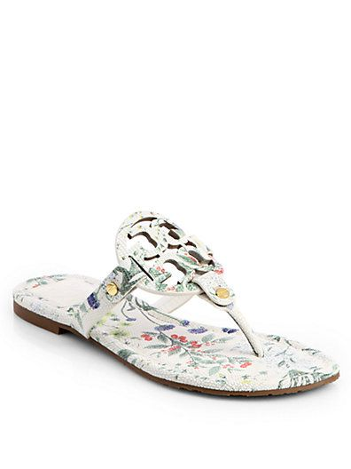 a7949ccc6ef4 Tory Burch - Miller Floral-Print Leather Thong Sandals - Saks.com ...