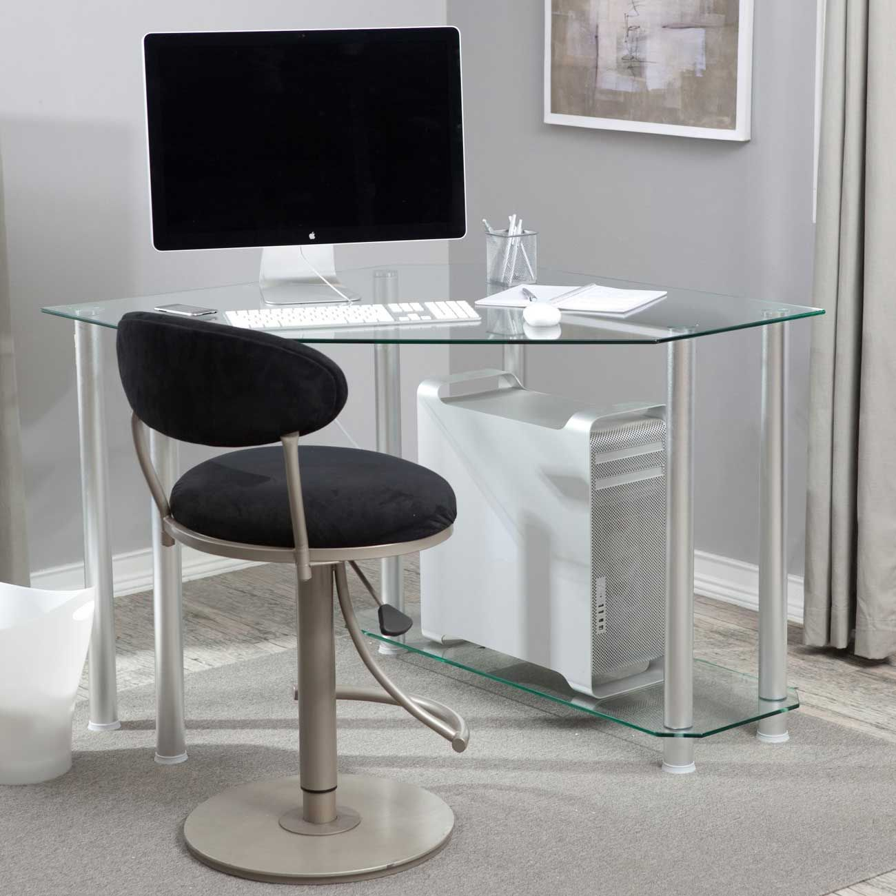 Modern Clear Glass Corner Desk For Computer Glass Corner Desk Desks For Small Spaces Computer Desks For Home