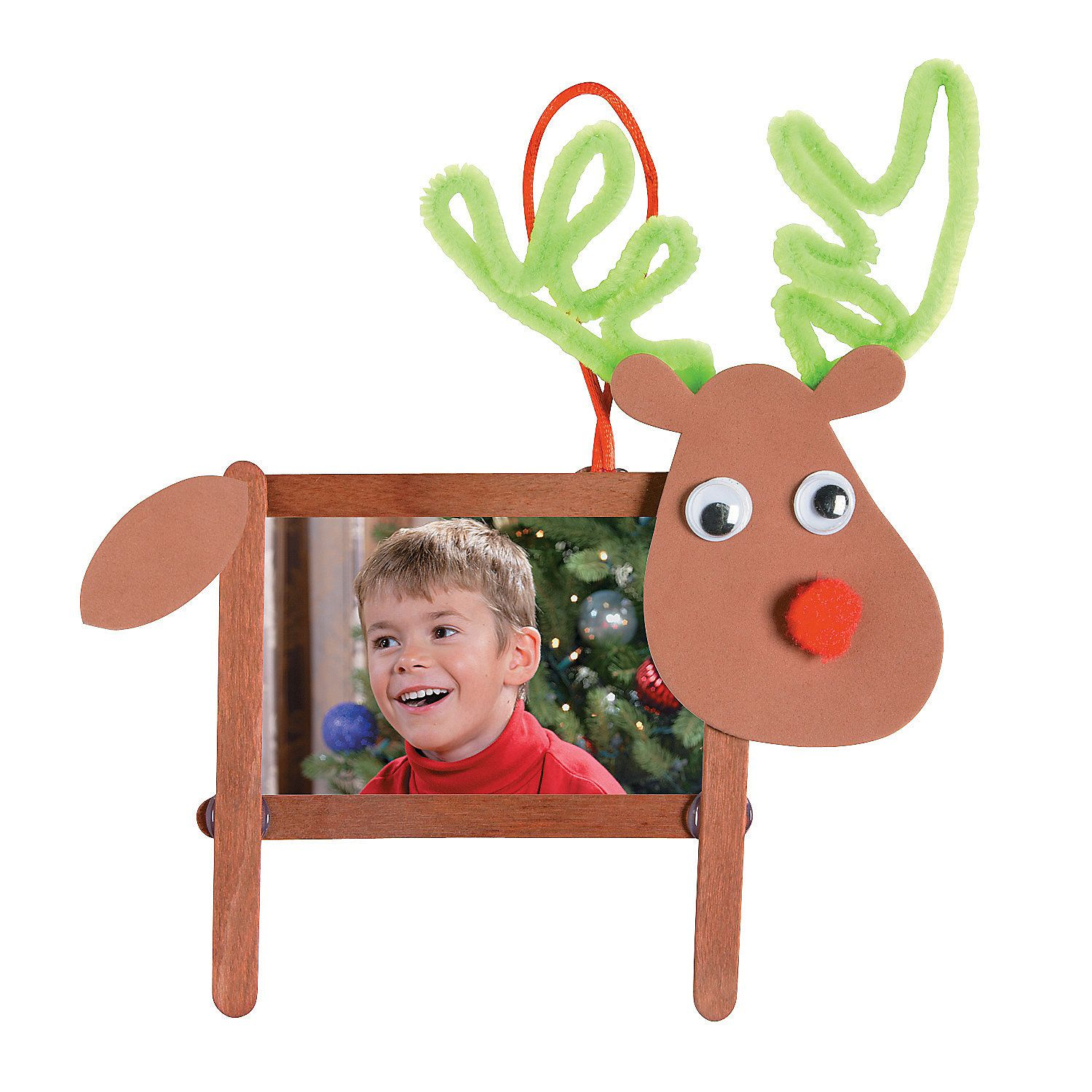 Craft stick reindeer photo frame christmas ornament craft for Popsicle stick picture frame christmas