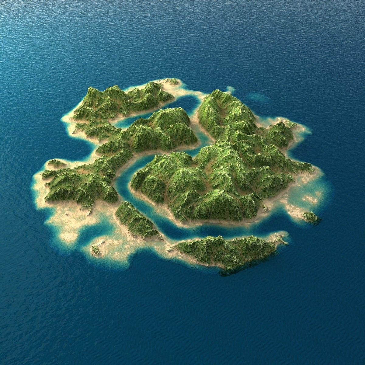 Tropical Island: Tropical Island Terrain 2 3D Model