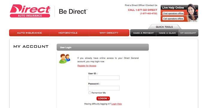Direct General Login Directgeneral Com Auto Insurance Car