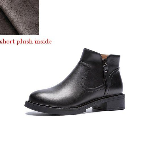 eca32eb554e Flat Ankle Boots Genuine Leather Chelsea Boots Black Women Winter ...