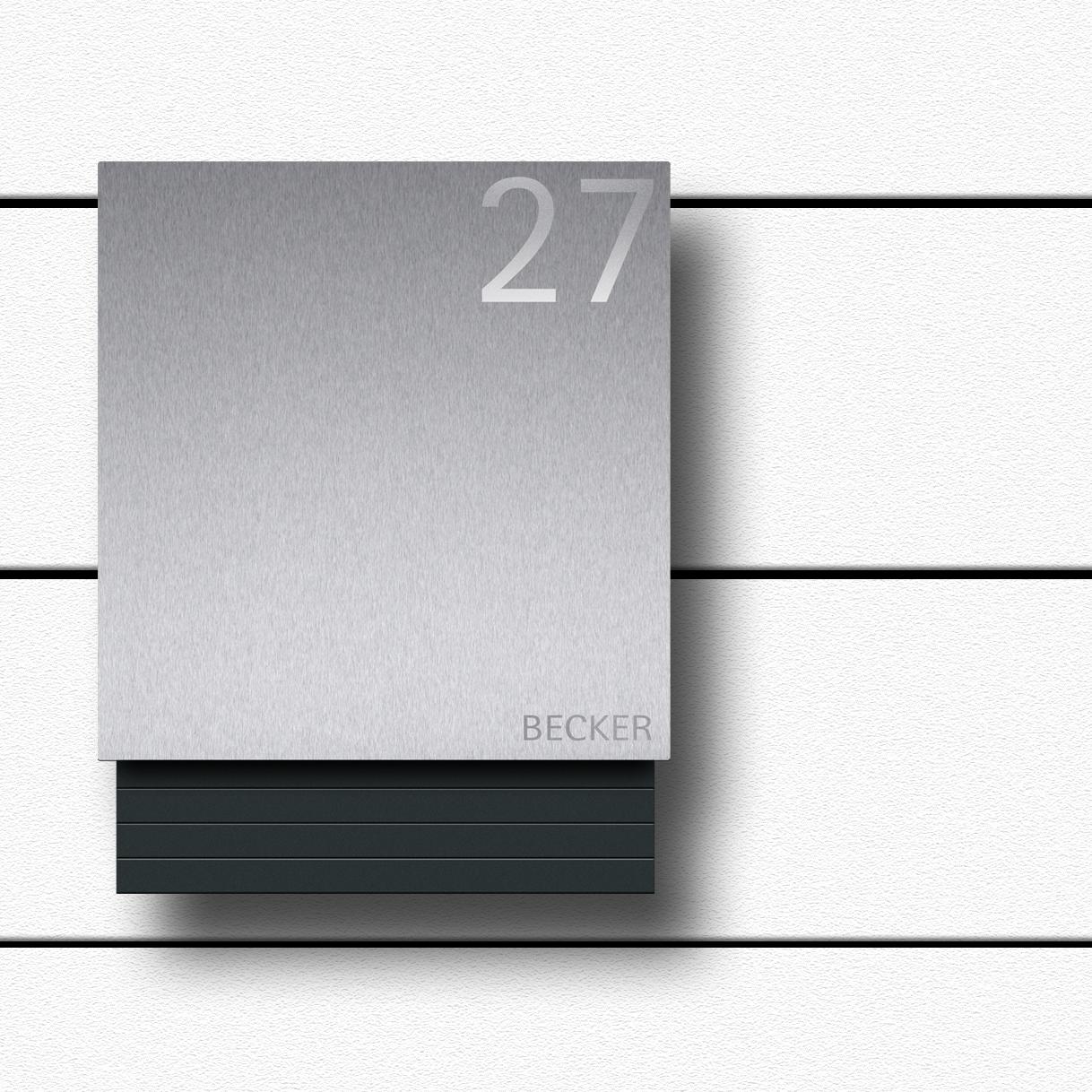 Design Briefkasten anthrazit Edelstahl b1-light inklusive ...
