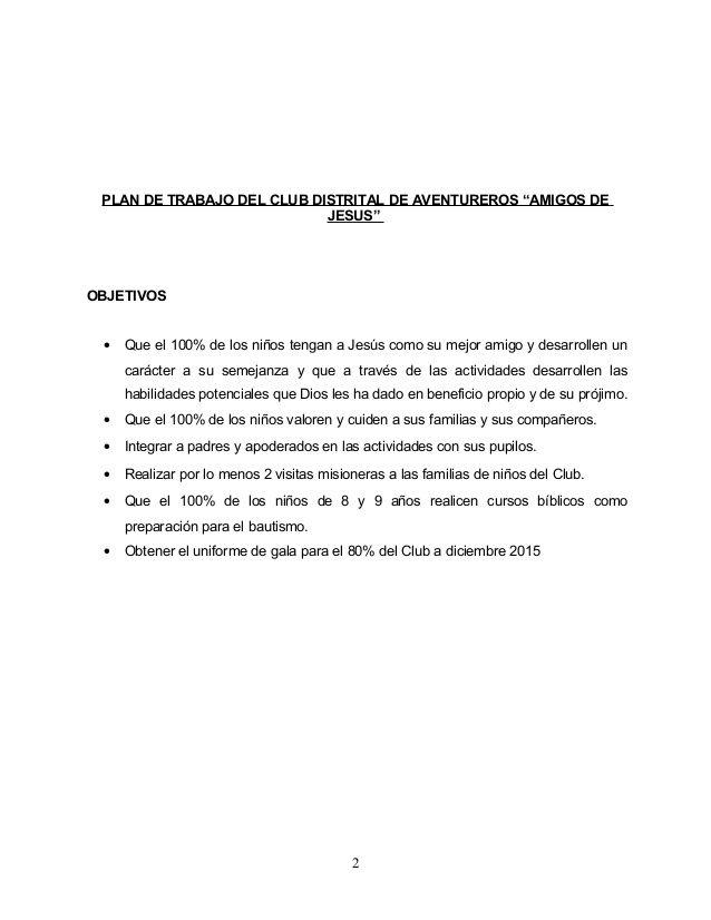 Requisitosbasicos Plan De Trabajo Aventureros