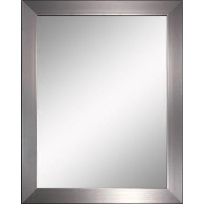 Bathroom nickel frame mirror bathrooms pinterest modern brushed nickel and wall mirror ideas for Bathroom mirrors brushed nickel