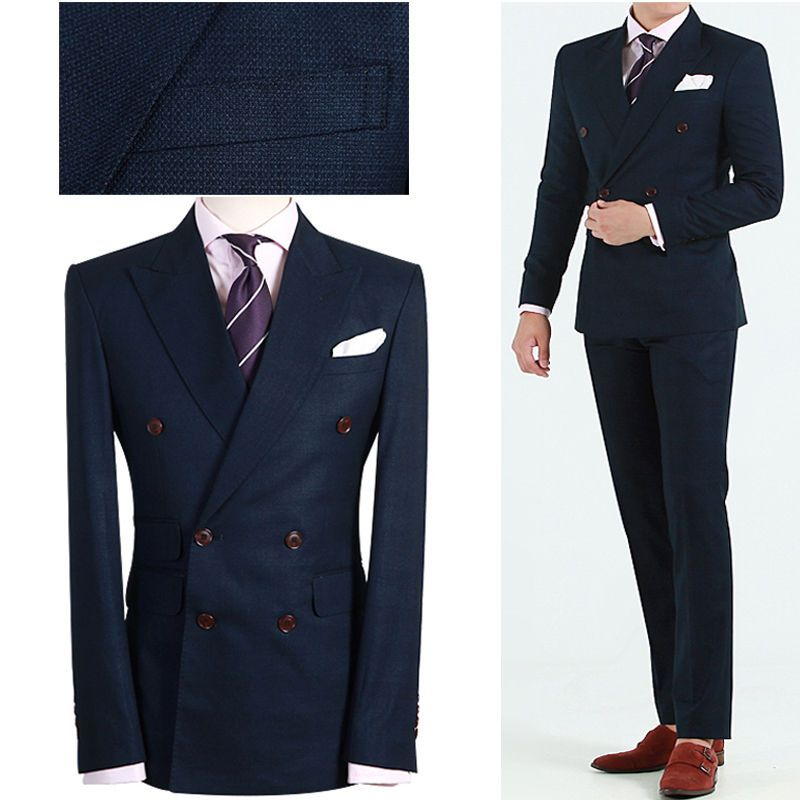 NAVY BLUE Men s Double Breasted Slim Fit Prom Suit Wedding Tuxedos ...