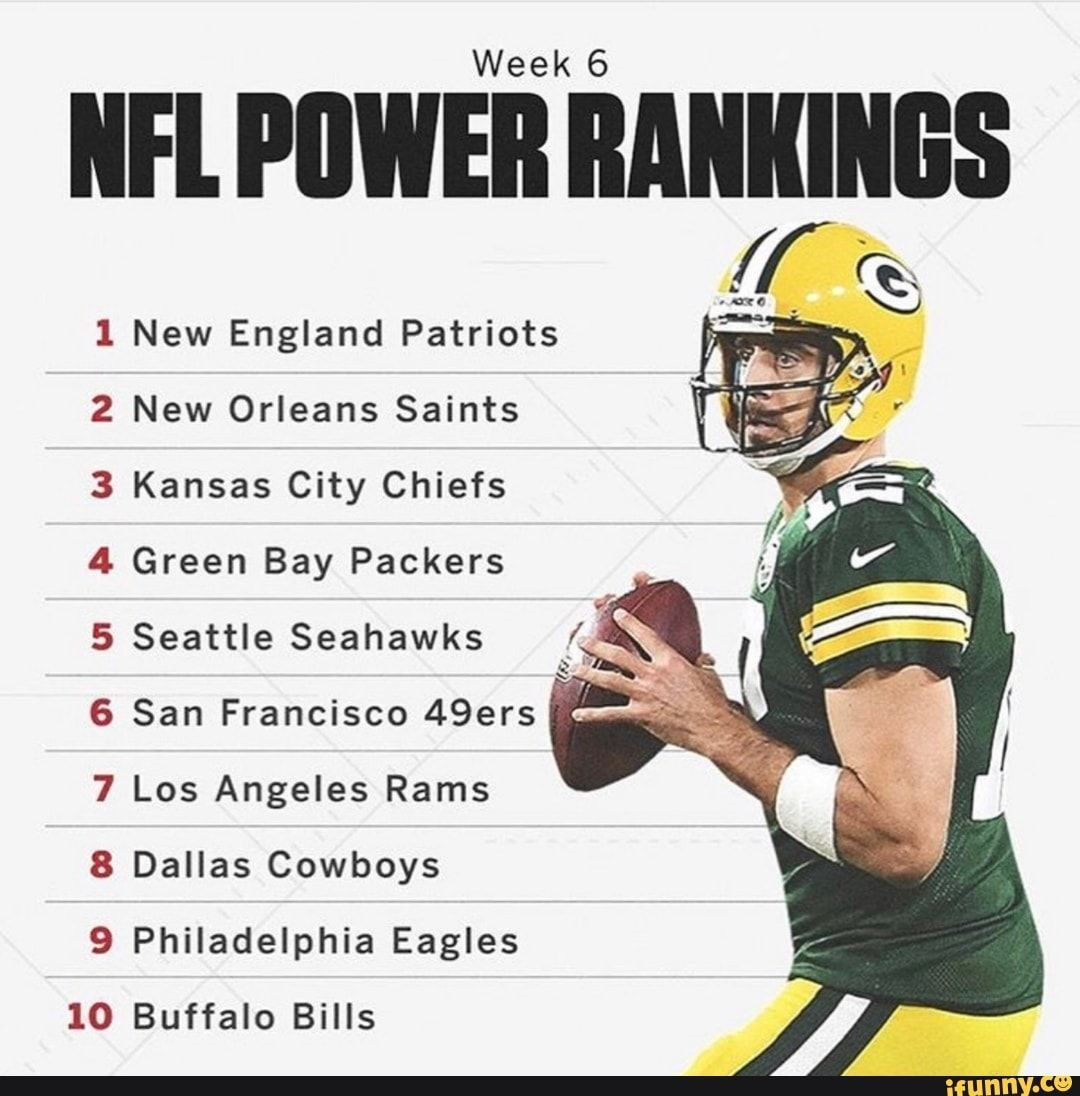 Week 6 Iifl Piiweii Rankings New England Patriots New Orleans Saints Kansas City Chiefs Green Bay Packers Seattle Seahawks San Francisco 49ers Los Angeles Rams New England Patriots Los Angeles Rams