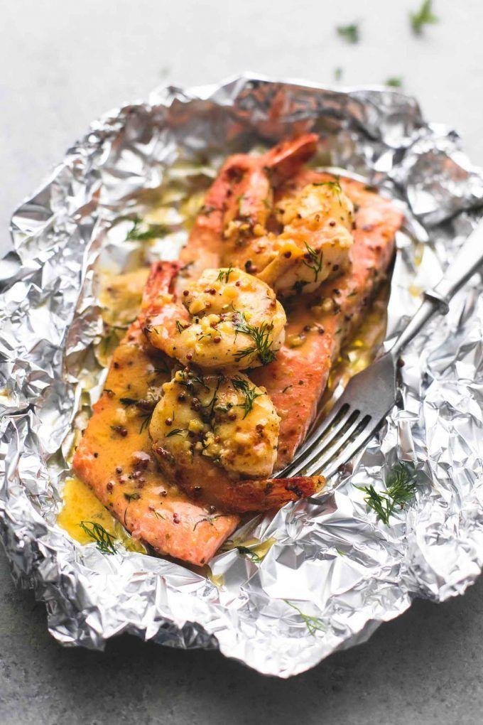 Photo of Garlic Dijon Shrimp and Salmon Foil Packs | Creme De La Crumb