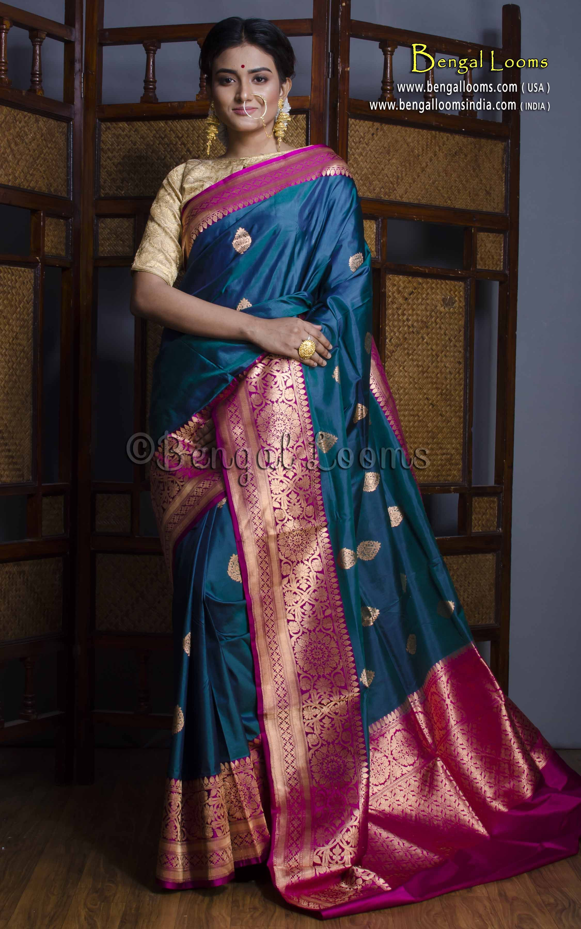 588844759a Pure Handloom Katan Silk Banarasi Saree in Peacock Green and Purple ...