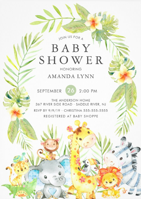 Safari Boy Baby Shower Invitation