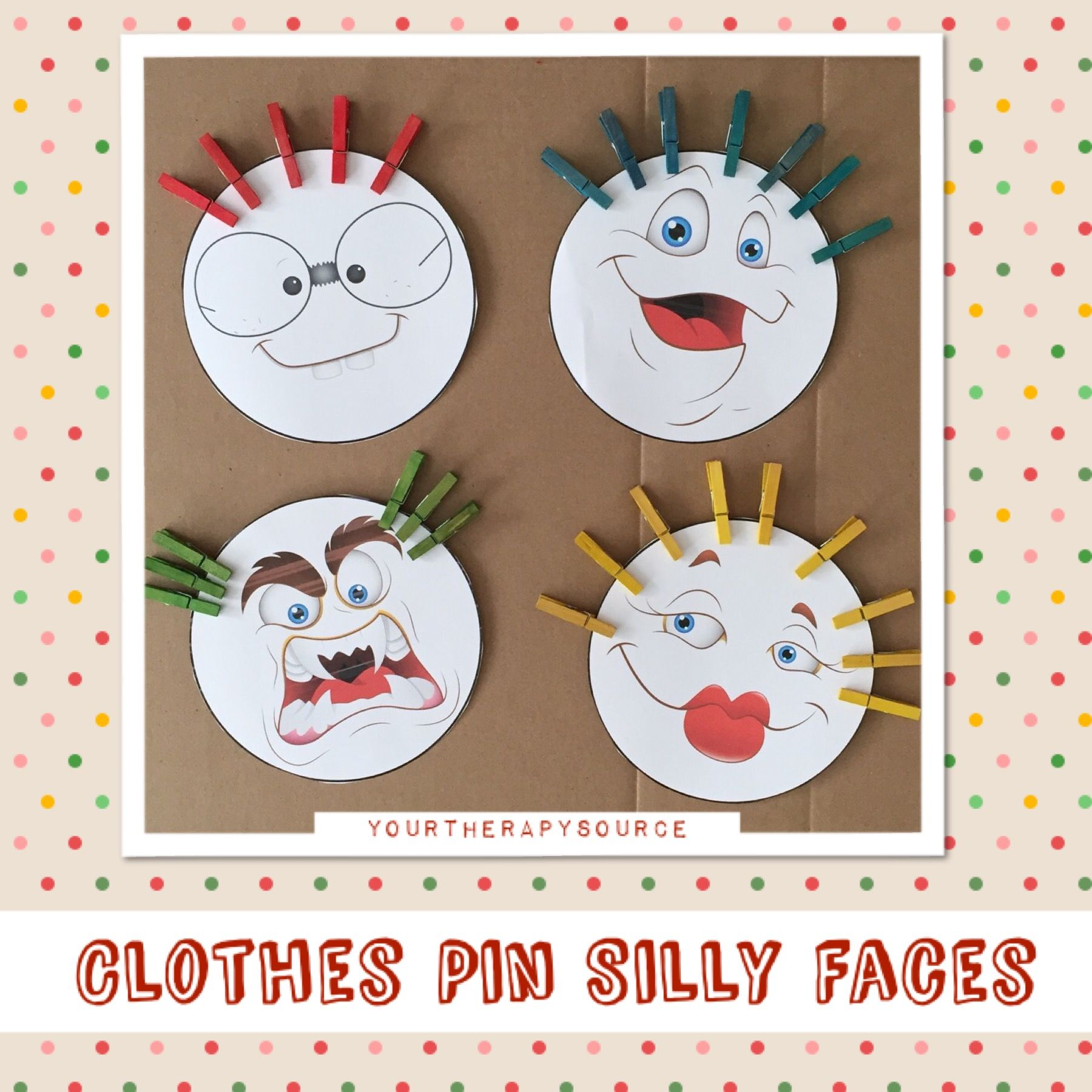 Clothes Pin Silly Faces