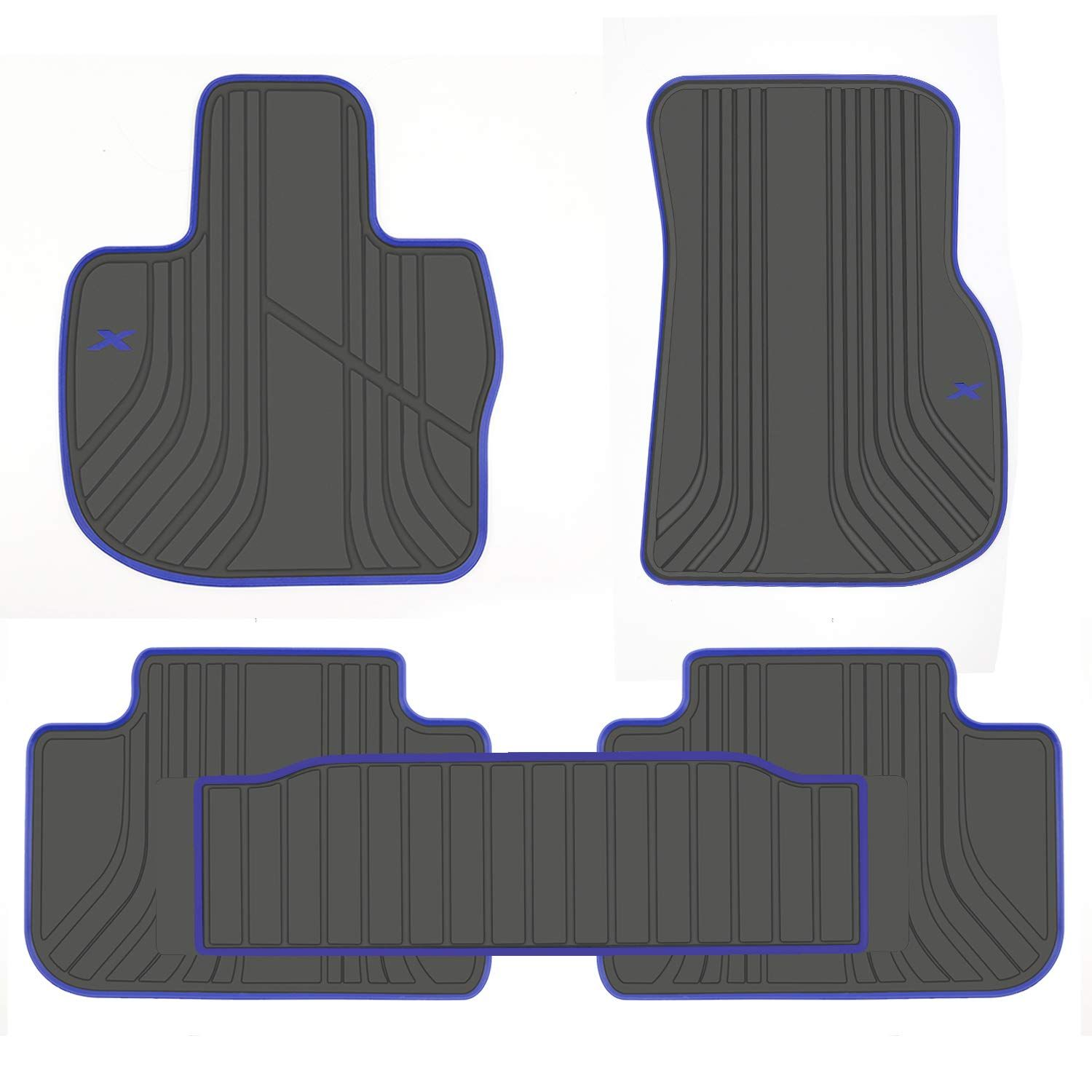 San Auto Car Floor Mat For Bmw X3 G01 X4 G02 Custom Fit 2018 2019 Black And Navy Blue Rubber All Weather Heavy Duty And Odor In 2020 Bmw X3 Black And Navy