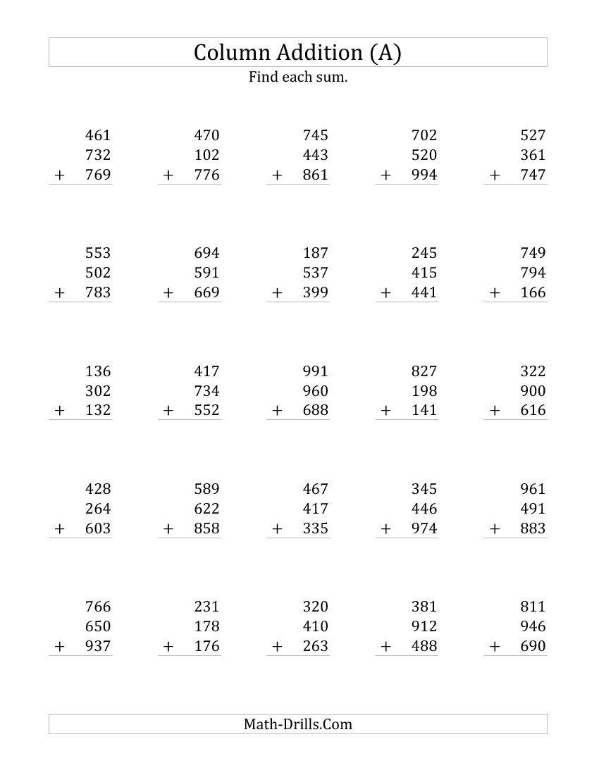 small resolution of Adding Three Three-Digit Numbers (A) Addition Worksheet   Addition  worksheets