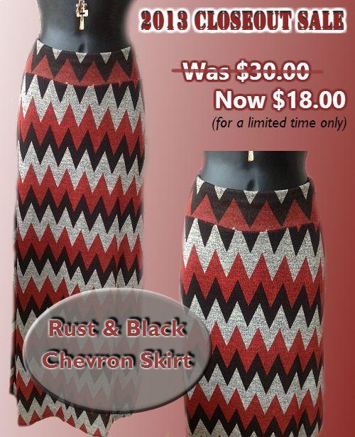 Rust & Black Chevron Skirt... Clearance Item!!  Save $12.00 --- http://www.teeforthesoul.com/bottoms/rust-black-chevron-skirt/