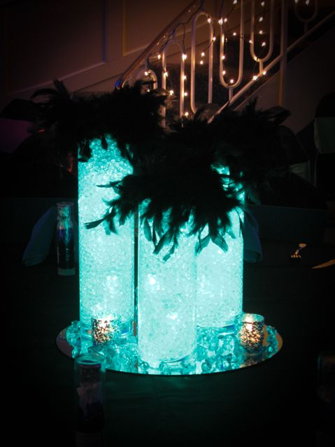 Light Decorations For Living Room: Club Themed Centerpiece With Aqua Gems, Led Lighting