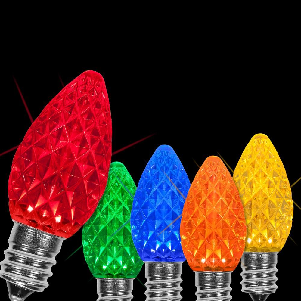 Wintergreen Lighting Opticore C7 Led Multi Color Faceted Christmas Light Bulbs 25 Pack 72613 The Home Depot Christmas Light Bulbs Christmas Lights Led Christmas Lights