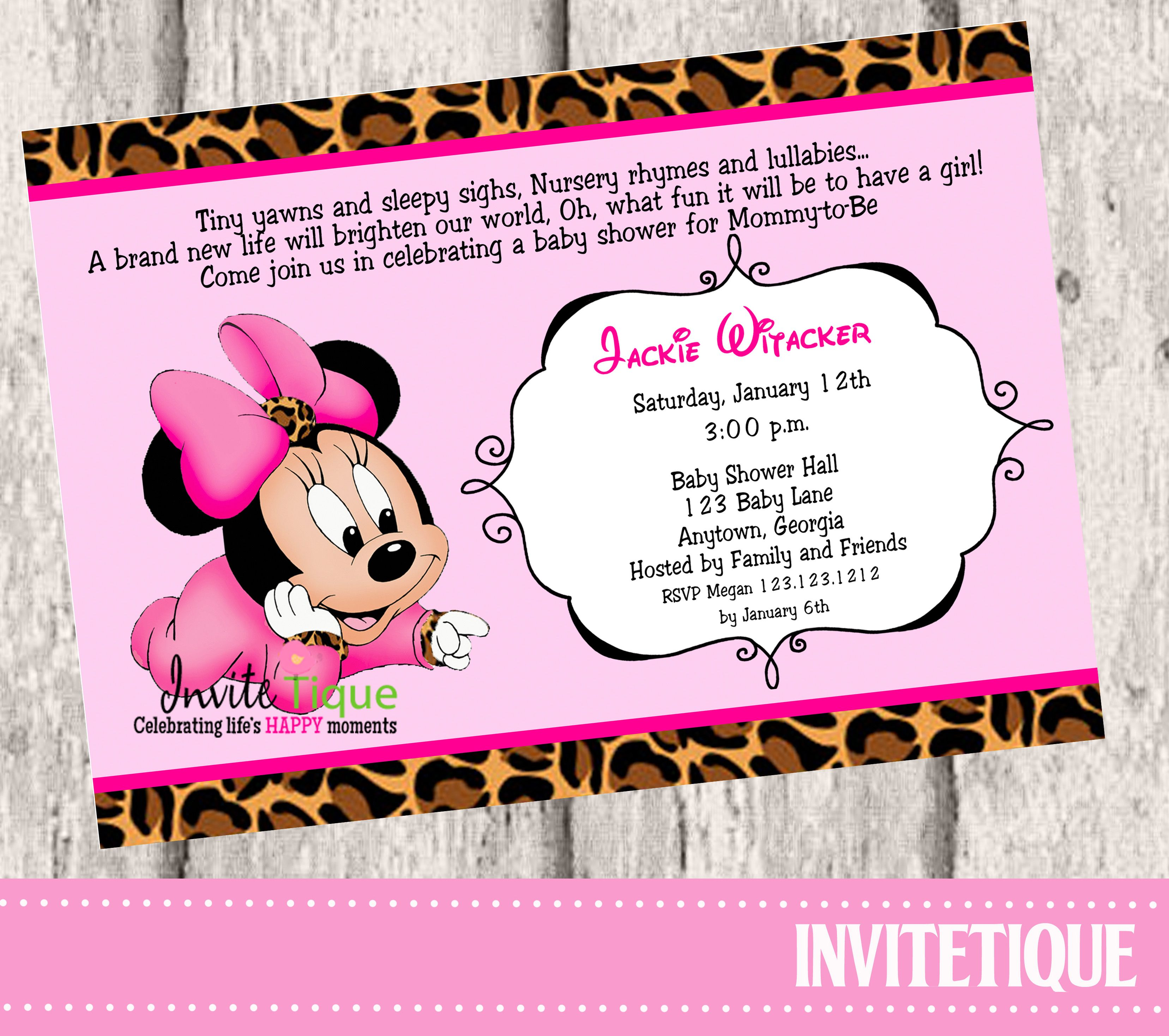 Cheetah Print Minnie Mouse Baby Shower Invitations, DIY Printable ...