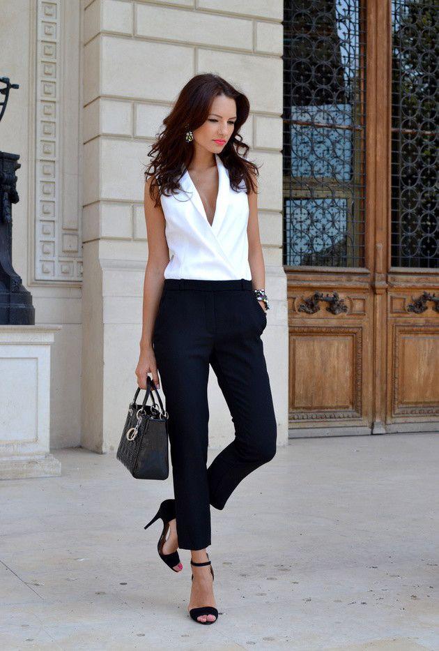 Zara 2014 Black White Lapel Two tone Combination Crepe ...