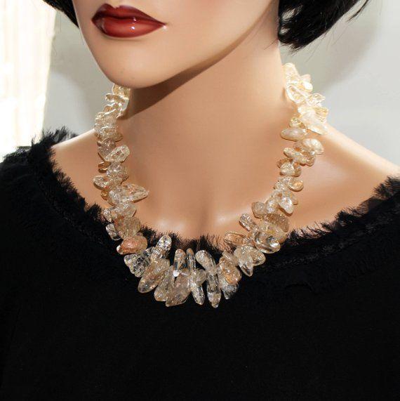 70582a735c65b Genuine Quartz luxury statement necklace Big bold chunky cluster ...