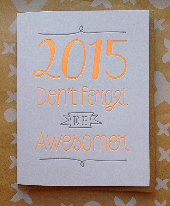 new years card set of 6 letterpress new year card dont