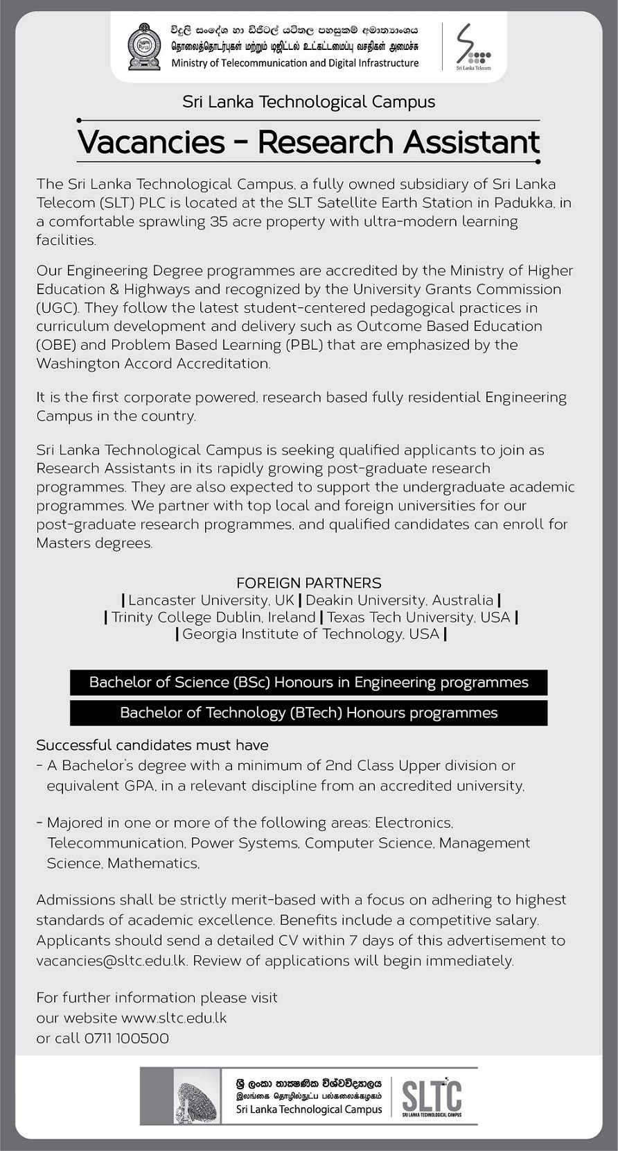 Research Assistant At Sri Lanka Technological Campus Sltc