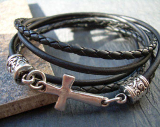 Leather Bracelet Natural Black Cross Religious Gift Mens Womens Faith Jewelry