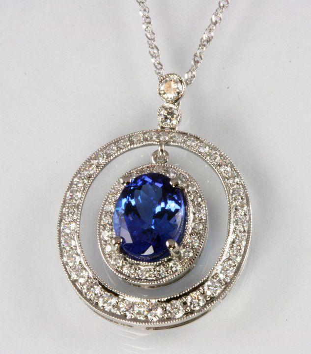 White gold oval tanzanite pendant with diamonds tanzanite white gold oval tanzanite pendant with diamonds tanzanite necklace aloadofball Gallery