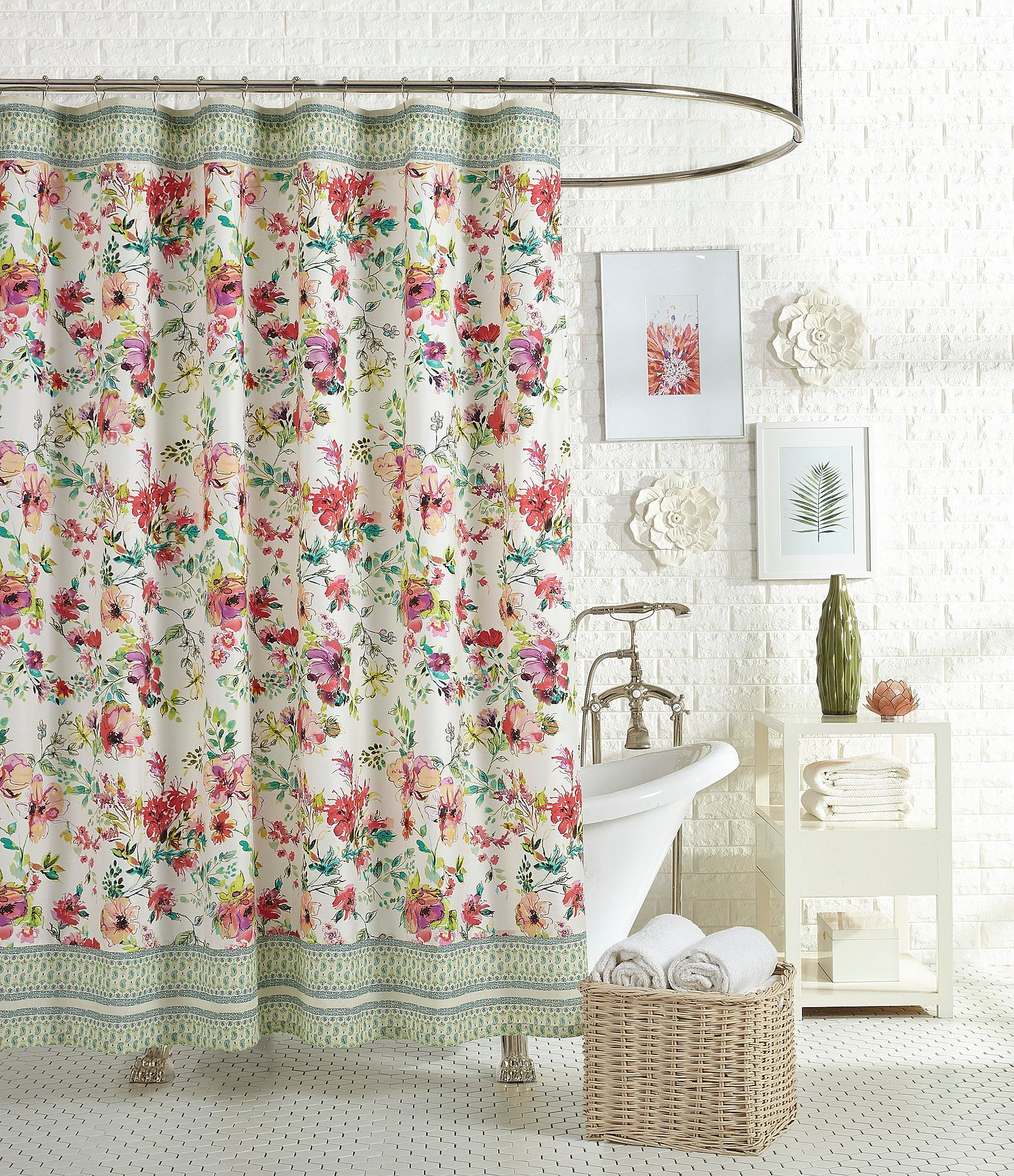 Jessica Simpson Watercolor Garden Floral and Paisley Shower Curtain ...