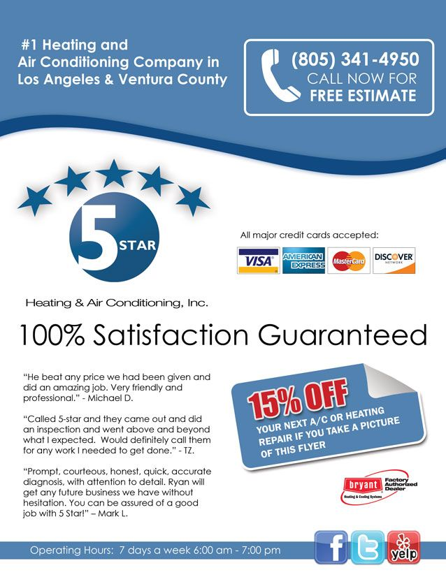 5 Start Heating Air Conditioning Flyer Heating And Air