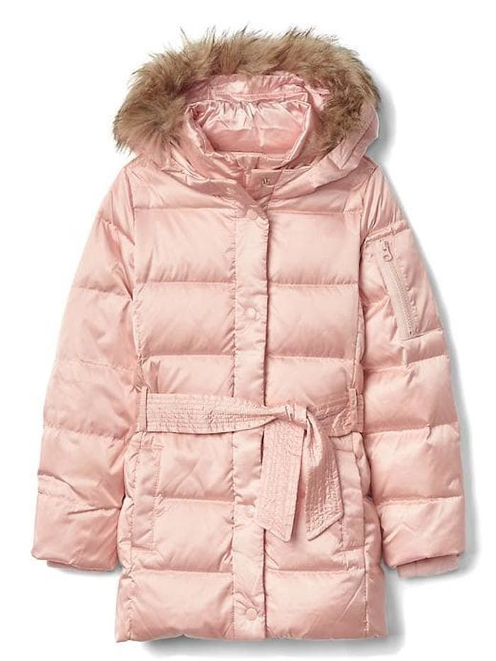 fcebef068d74b Warmest kids  winter coats  Down Tie-Belt Puffer Parka by Gap