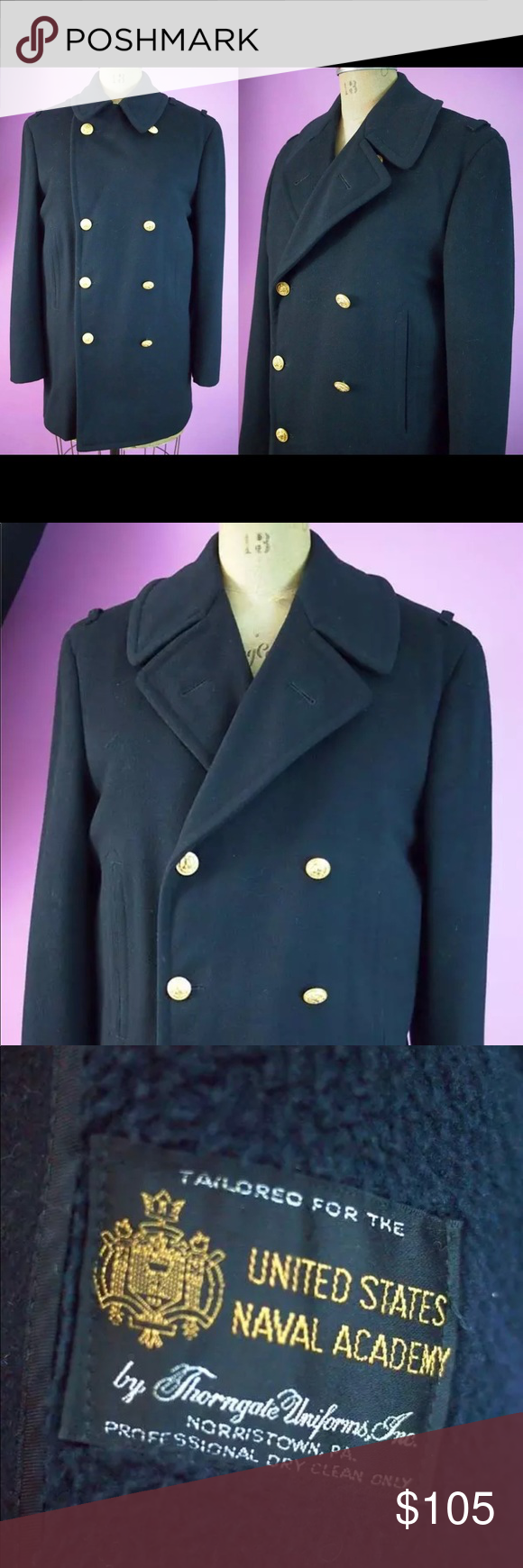 Vintage Pea Coat Heavy black 100 wool pea coat in