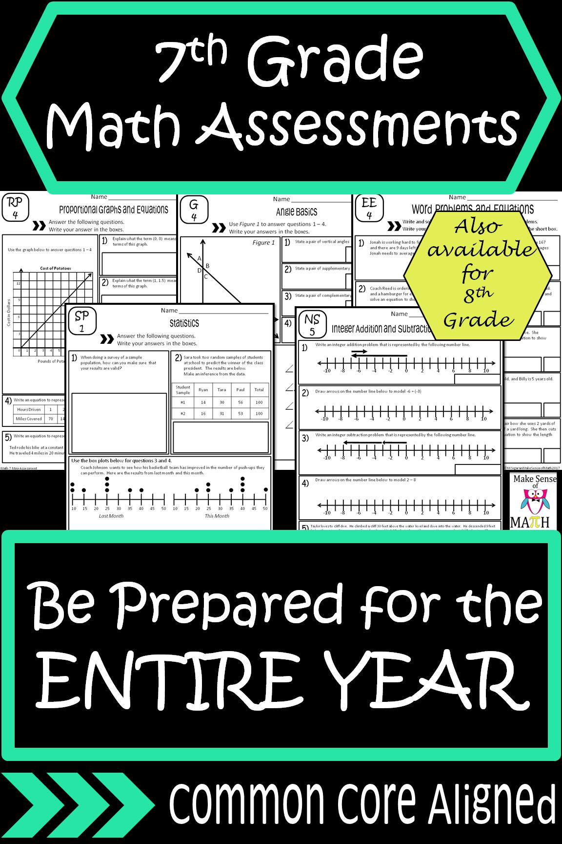 7th Grade Math Assessments Common Core Bundle Editable