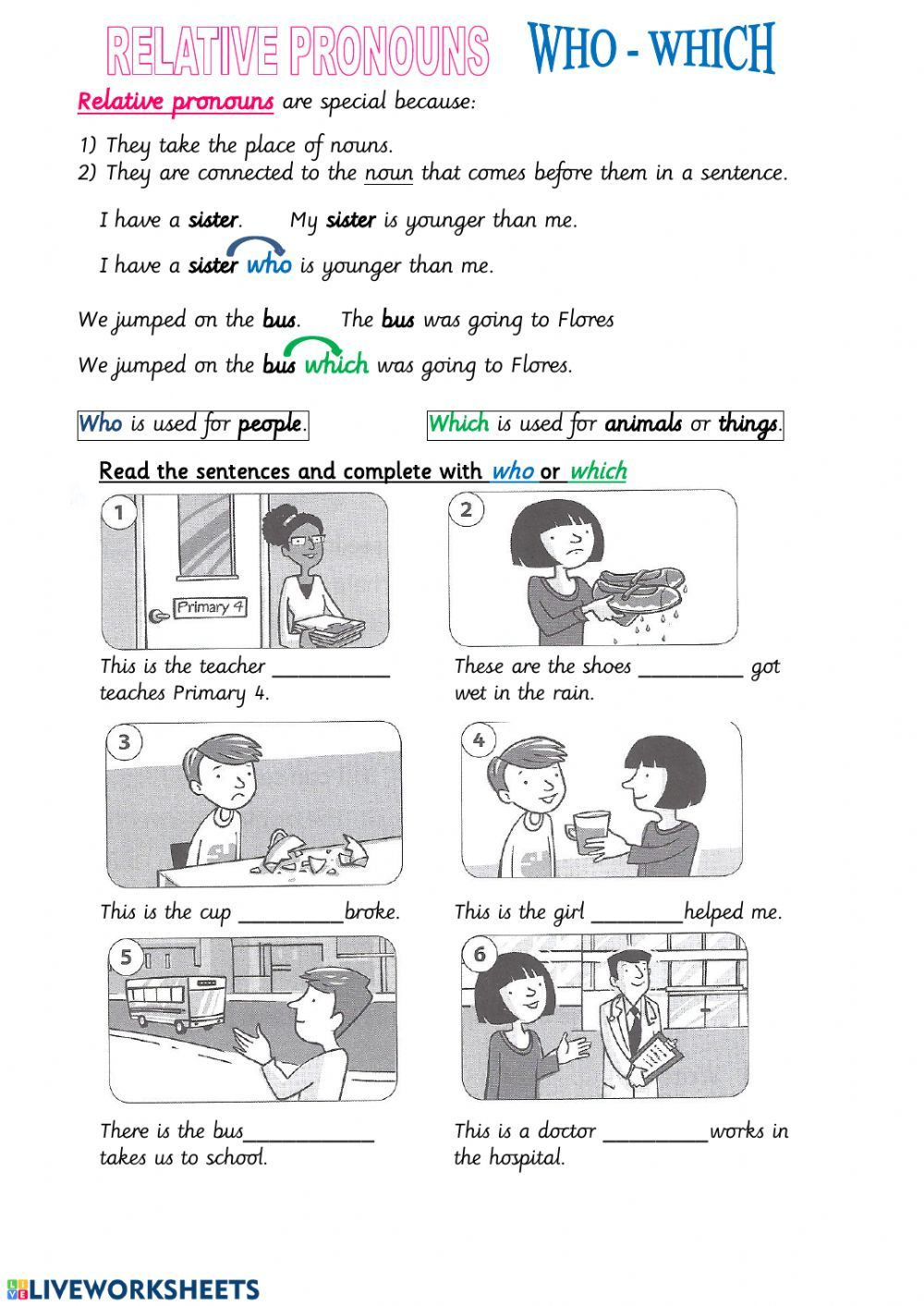 Who Which Interactive Worksheet In 2020 Relative Pronouns Relative Clauses English As A Second Language