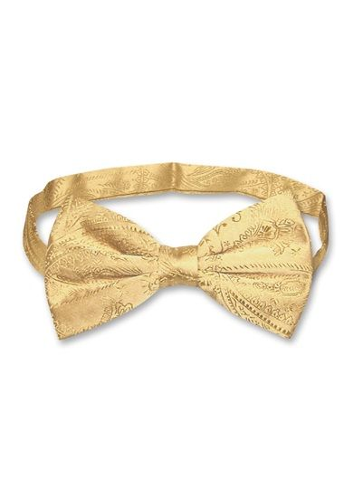 Vesuvio Napoli BOWTIE Solid GOLD Color Mens Bow Tie for Tuxedo or Suit