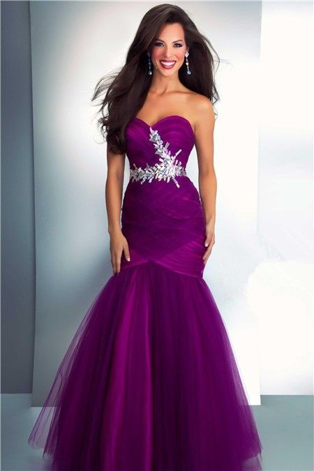 Sexy Sweetheart Long Purple Sequined Beaded Sparkle Prom Dress ...