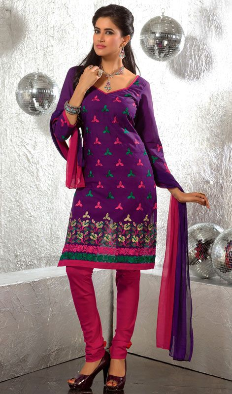 142e355490 Violet Cotton Embroidered Churidar Suit with Resham Work Spice up a hint of  aristocratic luster, dressed in this violet cotton embroidered churidar suit .
