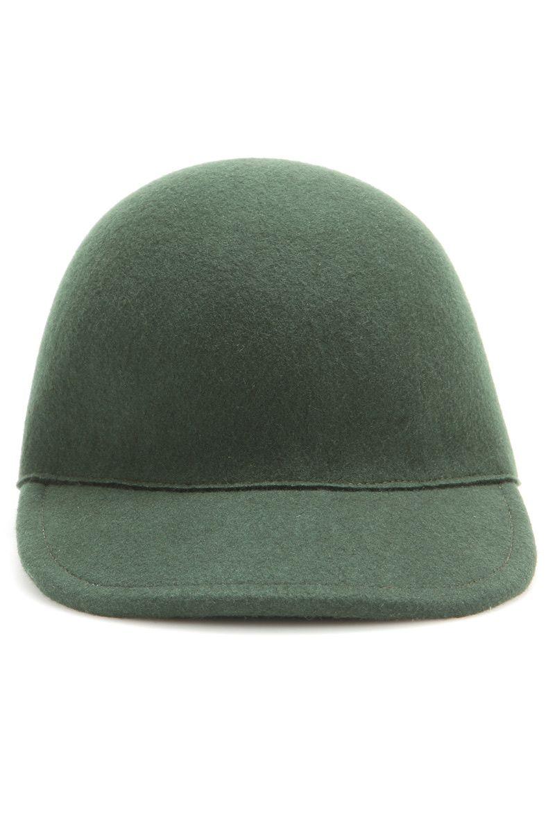 Gorra de fieltro en color verde seco.