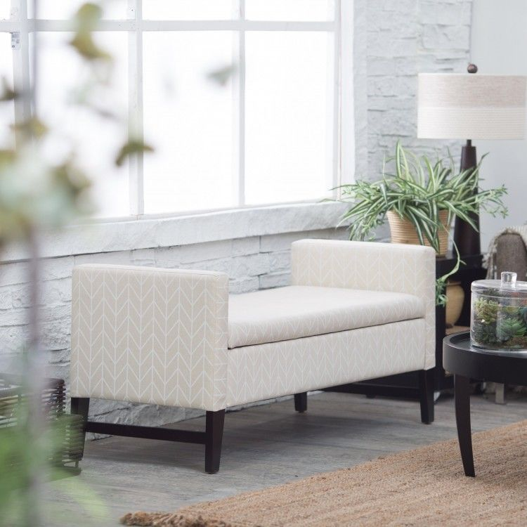 Upholstered Storage Bench Seat Bedroom Furniture Fabric ...