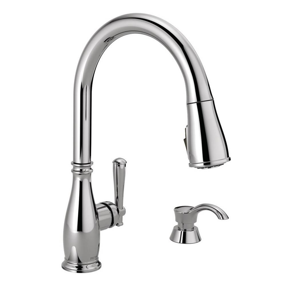 Delta Charmaine Single Handle Pull Down Sprayer Kitchen Faucet With Soap Dispenser And Shieldspray Technology In Chrome Grey Faucet Soap Dispenser Kitchen Bath