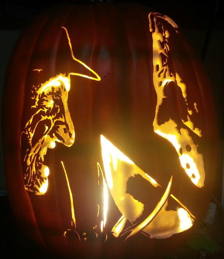 Freddy Vs Jason Carving Pumpkin Stencil Horror Icons Halloween