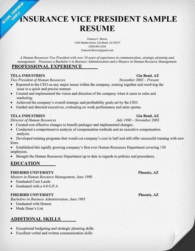 Insurance Vice President Resume Sample (resumecompanion - human resources recruiter resume