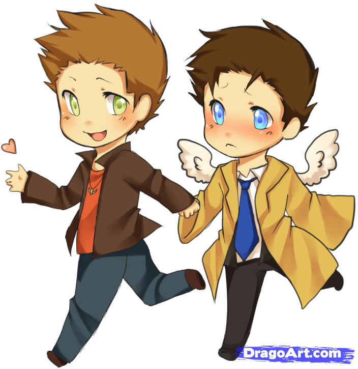 How to Draw Chibi Dean And Castiel From Supernatural, Step