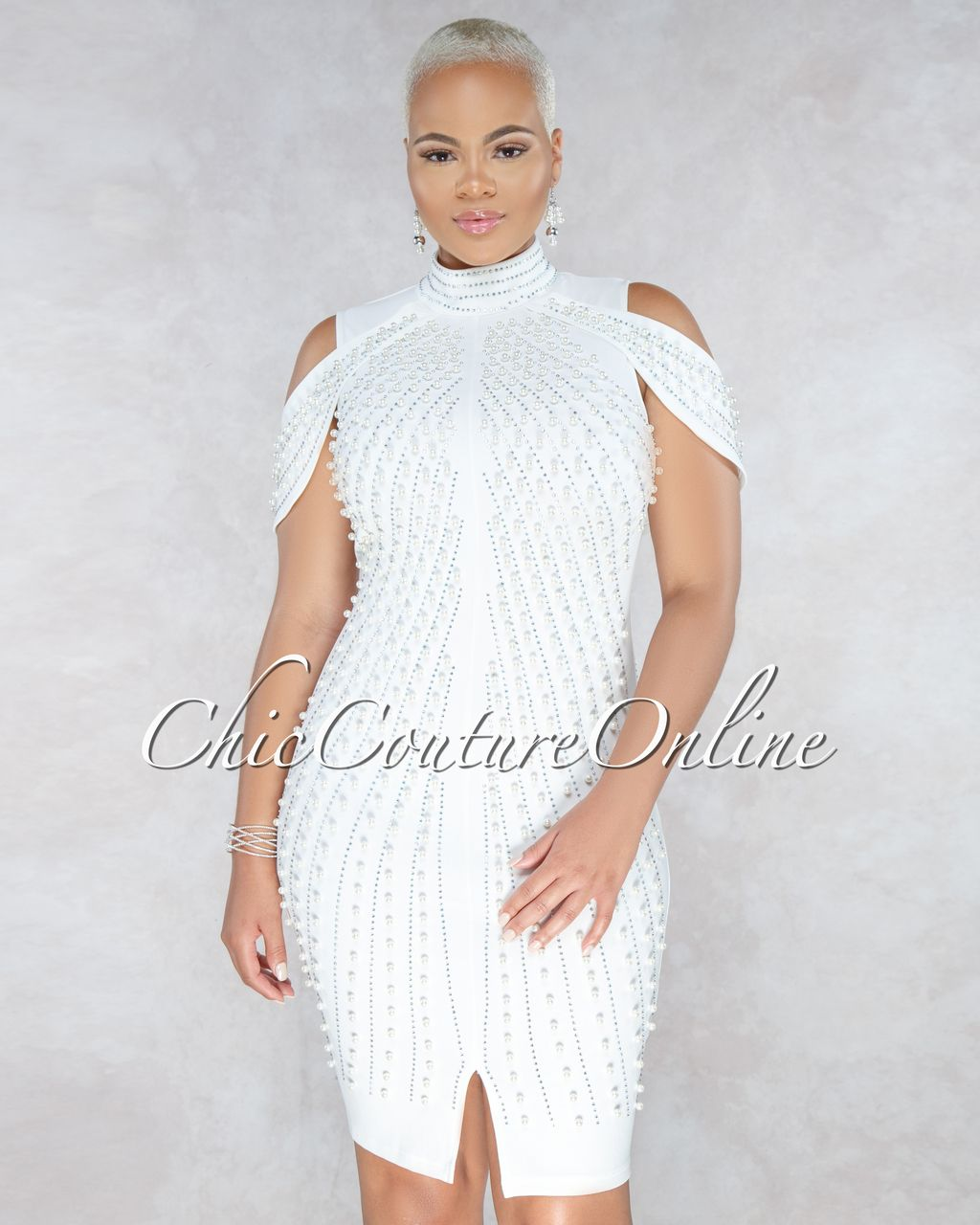 4a445bd777e Chic Couture Online - Malya Off White Pearl Rhinestones Embellished Mini  Dress