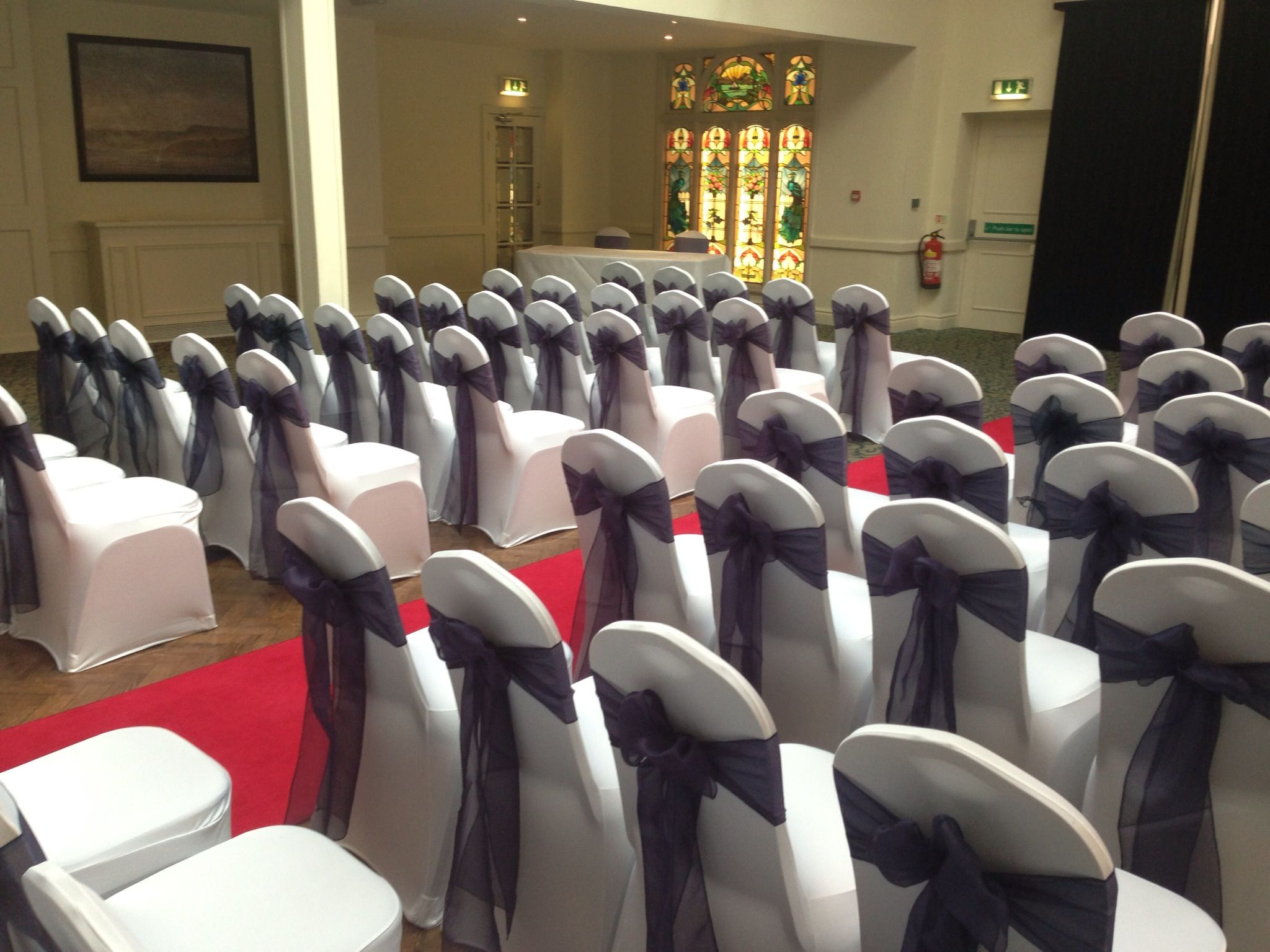 Celebration Events   White Lycra Chair Covers With Navy Sashes $1.80   0411  44 HIRE