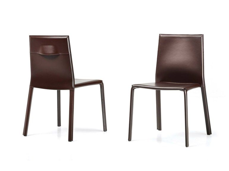 Stackable Tanned Leather Chair Mia Frighetto Line By Estel Group