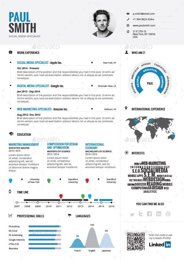 Infographic Resume Vol1 By Paolo6180 GraphicRiver CV Infographic Resume Template
