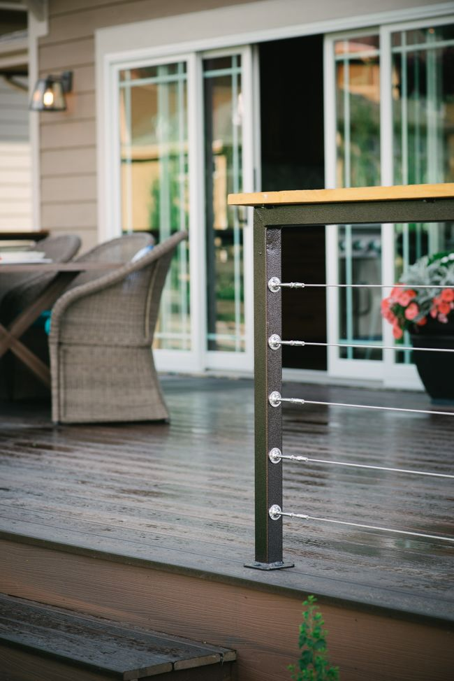 Modern Deck Railing And Reclaimed Wood Posts Modern Deck Deck Railings Cable Railing Deck