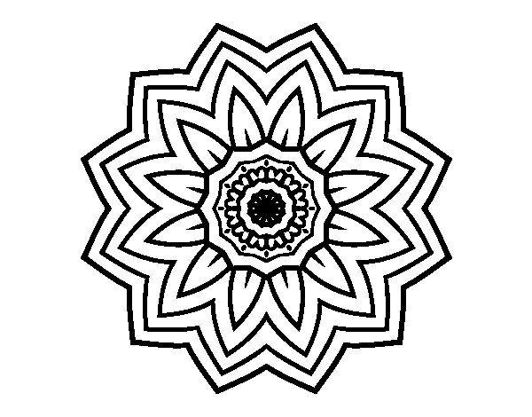 Dibujo De Flor De Cerezo Para Colorear: Dibujo De Mandala Flor De Girasol Para Colorear