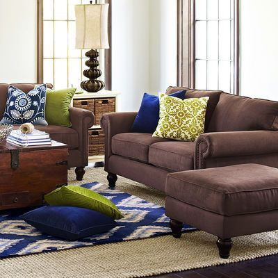Brown Couch Blue Accent Pillows Lamp Rug Living